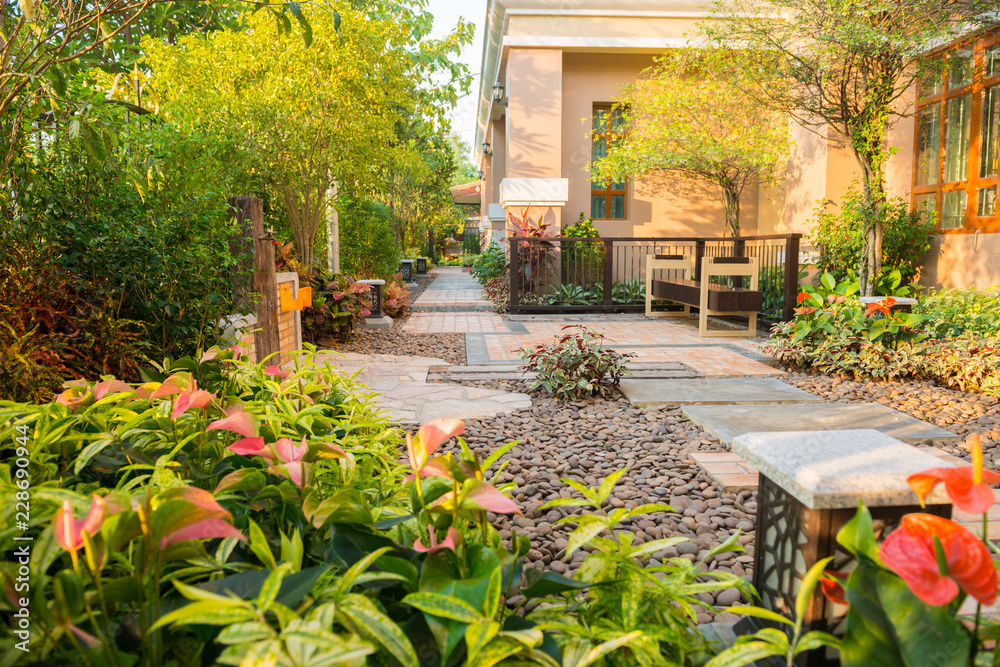 Fototapety, obrazy: design and decorative garden with chair