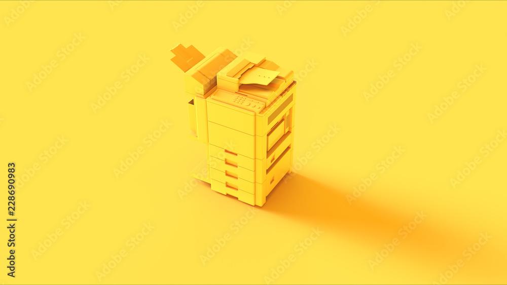 Fototapety, obrazy: Yellow Office Printer 3d illustration 3d render