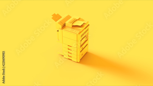 Fototapeta Yellow Office Printer 3d illustration 3d render obraz
