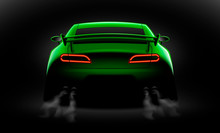 Realistic Green Sport Car Back View With Unlocked Rear Lights In The Dark