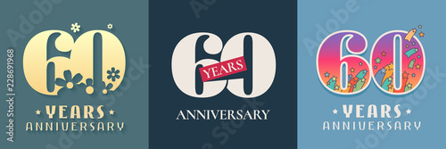 60 years anniversary celebration set of vector icon, logo Tableau sur Toile