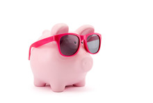 Piggy Bank With Pink Glasses O...