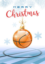Merry Christmas. Sports Greeting Card. Realistic Basketball Ball In The Shape Of A Christmas Ball. Vector Illustration.