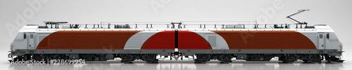 Fotomural Motrice treno, tram, vagone ferroviario, illustrazione 3d