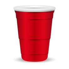 Red Party Cup Realistic 3d Vector Illustration. Disposable Plastic Or Paper Container Mockup For Drinks And Fun Games Isolated On White Background.