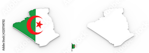 Poster Algérie 3D map of Algeria white silhouette and flag