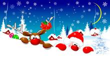 Cute Santa Claus And Reindeer ...