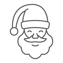 Santa Claus Thin Line Icon, Christmas And Character, Face Sign, Vector Graphics, A Linear Pattern On A White Background.