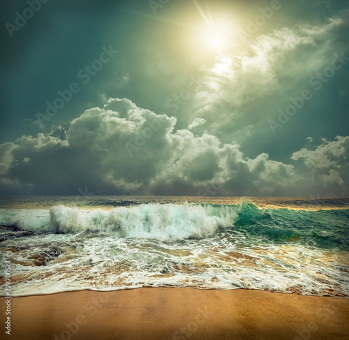 Beautiful Tropical Sea view under sunset sky at Sri Lanka beach Wall mural