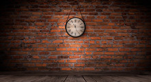 Antique Clock On The Old, Brick Wall, Wooden Floor, Smoke, Fog. Dark Gloomy Background Of Empty Room.