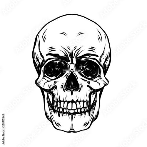 Монохромный череп, изолированных на белом фоне