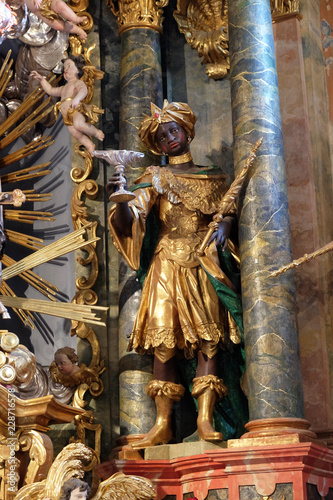 Photo Biblical Magi Balthazar in the Baroque Church of Our Lady of the Snow in Belec,