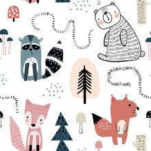 Semless Woodland Pattern With ...
