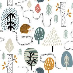 Semless woodland pattern wi...