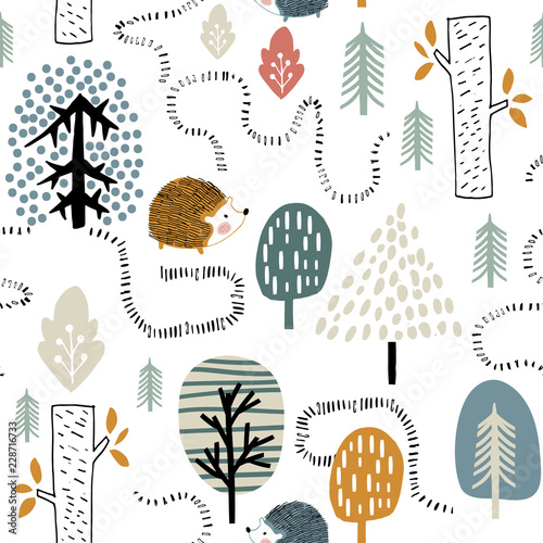 fototapeta na lodówkę Semless woodland pattern with hedgehogs. Scandinaviann style childish texture for fabric, textile, apparel, nursery decoration. Vector illustration