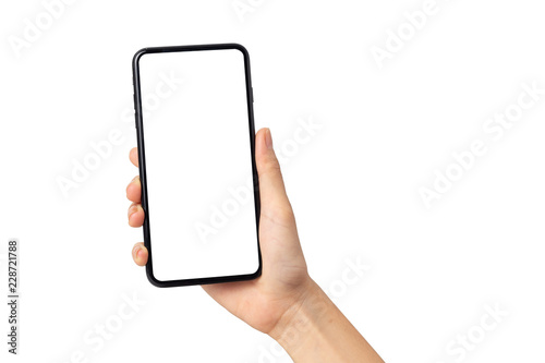 Photo  Hand young woman holding mobile smartphone with blank screen isolated on white b