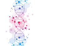 DNA Helix And Molecular Structure. Science And Technology Concept With Molecules Background.