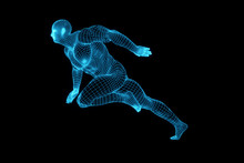 3D Rendering Of The Running Male Body, Blue Mesh, Robot, The Future Of Artificial Intelligence Creative Abstract Concept Background