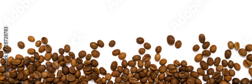 Stickers pour porte Salle de cafe Coffee grains in the bottom of the image on a isolated white bac