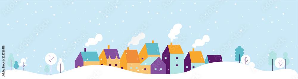 Fototapeta Winter city landscape. Snowy city background. Flat vector illustration.
