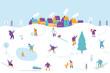 Winter outdoor activities. Snowy city background. People walking,having fun, skiing, ice skating, sledding. Flat vector illustration.