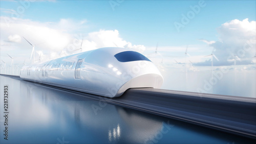 Fotomural  speedly Futuristic monorail train