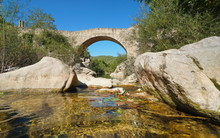 Medieval Bridge Sant Antoni Over The River, Sant Llorenc De La Muga, Spain, Catalonia, Alt Emporda