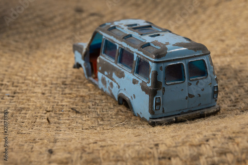 Fotografie, Obraz  Old Blue Minibus Toy
