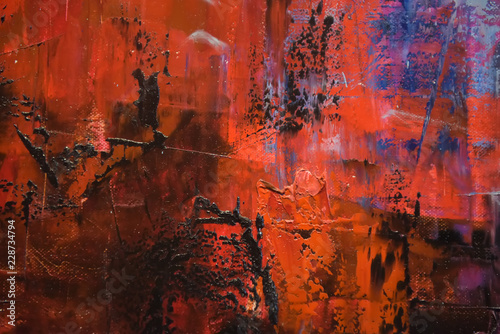 Photo sur Aluminium Marron red and blue oil paint background