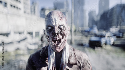 Photo  Terrible zombie in destroyed city
