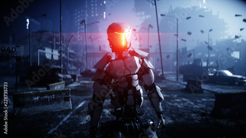 Fotografia  Military robot in destroyed city