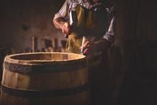 Wooden Barrels In A Cooperage,...