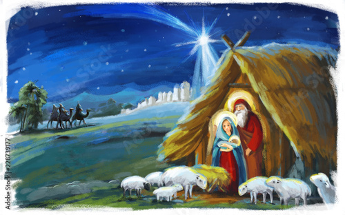 Obraz na plátně  religious illustration three kings - and holy family - traditional scene - illus