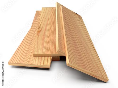 Wooden planks on a white floor. 3D rendering © Nobilior