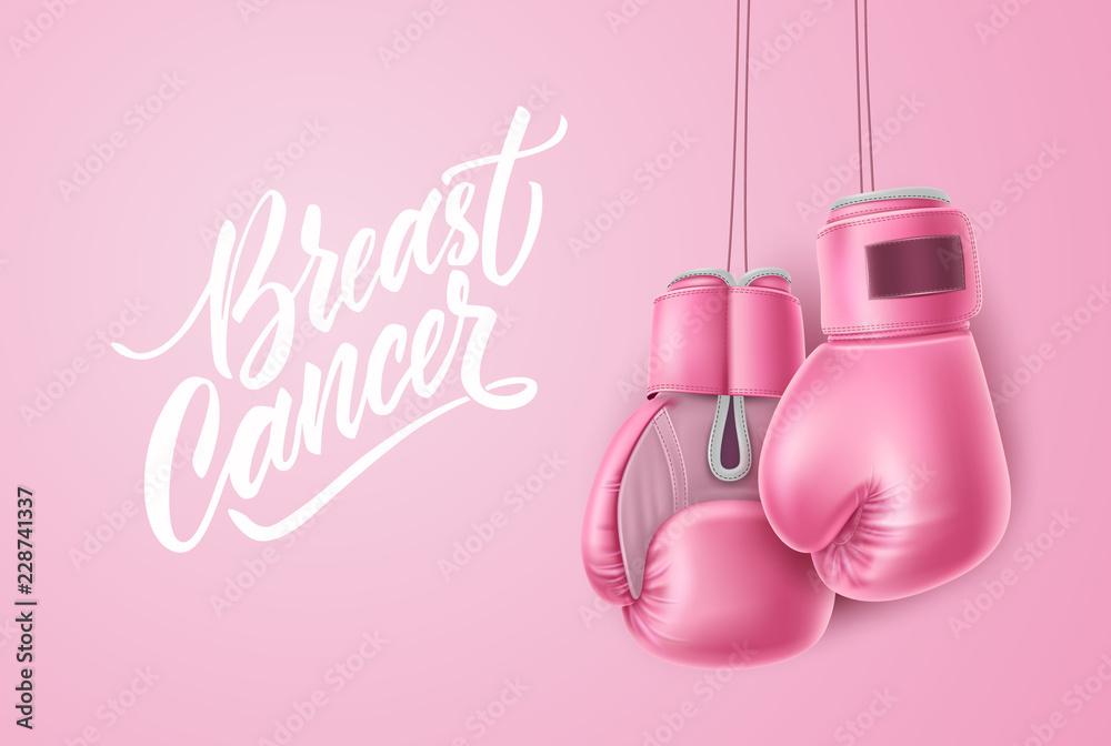 Fototapeta Vector breast cancer awareness pink box glove