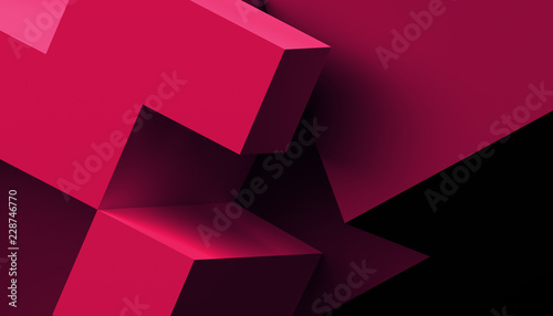 Abstract 3d rendering of a modern geometric background. Minimalistic design for poster, cover, branding, banner, placard. - fototapety na wymiar