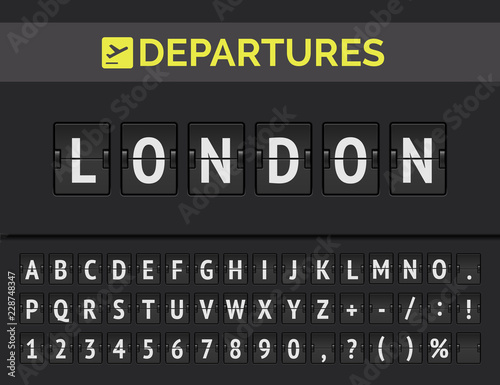 Canvastavla Airport flip board font showing flight departure destination in Europe London