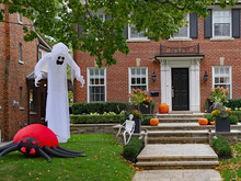 Halloween Decorations In Front Yard Of A House