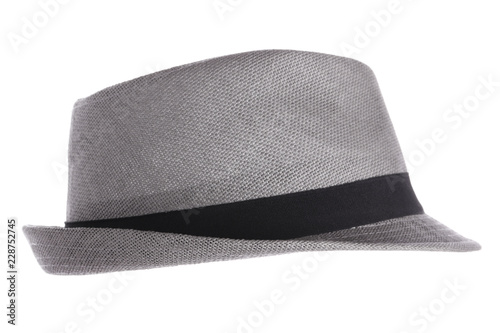 Cuadros en Lienzo  Gray fedora hat against white background