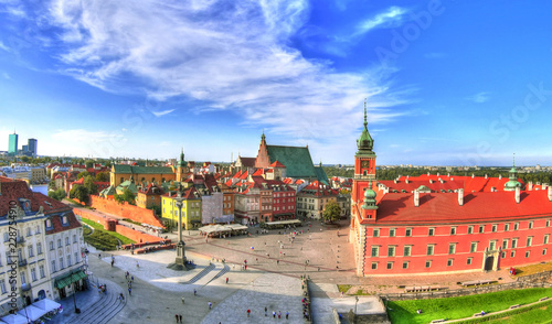 Foto op Plexiglas Historisch geb. Beautiful colorful HDR aerial image of the famous Old town in Warsaw, Poland. The Royal Castle and Sigismund's Column called Kolumna Zygmunta on blue dramatic sky - wide angle image