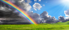 Rainbow In Rural Landscape - Calm After Storm