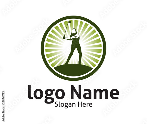 golf outdoor sport vector logo design inspiration a player hits the rh stock adobe com