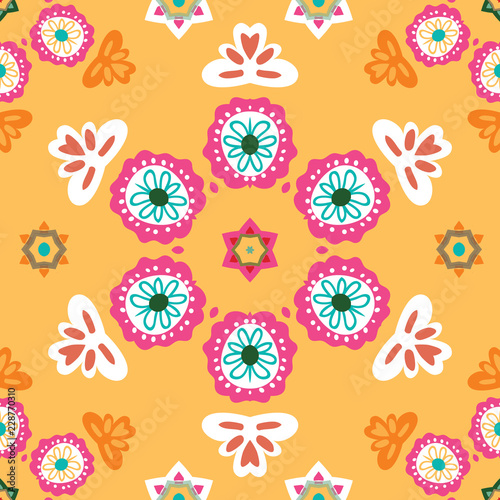 Fotografija  Colorful Mexican seamless vector folk art pattern in orange, pink, turquoise, white, Great for fiestas, birthday invitations and decorations