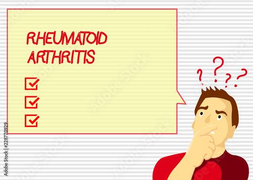 Handwriting text Rheumatoid Arthritis  Concept meaning