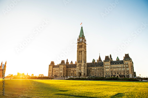 Obraz na płótnie Center Block and the Peace Tower in Parliament Hill at Ottawa in Canada