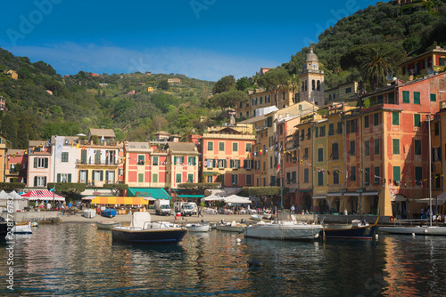 Canvas Prints Liguria The beautiful Portofino panorama with colorfull houses, luxury boats and yacht in little bay harbor. Liguria, Italy