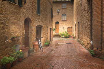 Fototapeta Majestic traditional decorated street with colorful flowers and rural rustic houses, Pienza, Tuscany, Italy, Europe