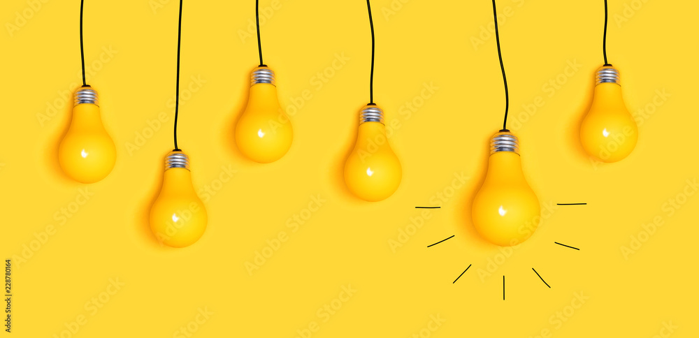 Fototapety, obrazy: Many hanging light bulbs on a yellow background