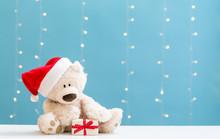 Teddy Bear Wearing A Santa Hat...