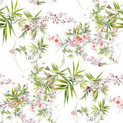 FototapetaWatercolor painting of leaf and flowers, seamless pattern on white background